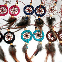 Dreamcatcher Indian Earrings Feathers Leather Native American Earrings Hippie Boho Funky - By PIYOYO