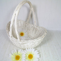 The Perfect Wedding Attendant Flower Basket - Vintage Chippy White Paint Wicker Tote Display Piece - Shabby Cottage Chic Curved Gift Basket