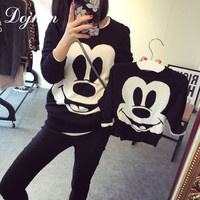 Fall Winter Family Matching Outfits Mickey Sweaters Mother & kids Girl Boys Shirts Clothes Mom Son Daughter Family Look Clothing