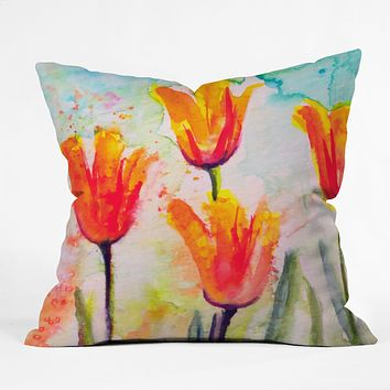 Ginette Fine Art Tulips Bells Of Spring Throw Pillow