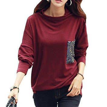 FELACIA Womens Batwing Shirts Cowl Neck Long Sleeve Blouses Sequin Tunic Tops With Pockets
