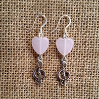 Musical heart earrings,  musical earrings,  heart earrings,  Clef earrings,  pink heart earrings,  silver plated earrings