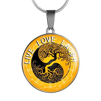 Live Love Laugh Gold Tree of Life Pendant Necklace