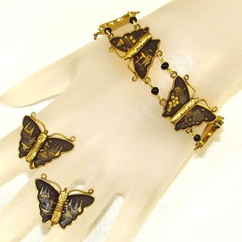 Damascene Butterfly Bracelet Earrings - Amita Japan Gold Inlay Link Set