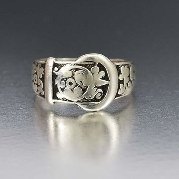Victorian Silver Buckle Antique Floral Wedding Band