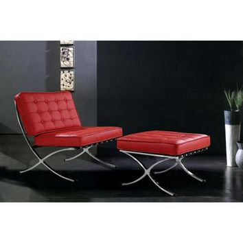 "VIG Bellatrix Modern Leather ""X"" Leg Chair And Ottoman Lounge Set In Red"