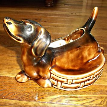 Vintage Dachshund Dog Ceramic Planter Figurine