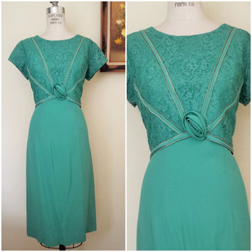 Vintage 1960s Teal Crepe Dress / 60s Dress /  Teal Green Vintage Dress / Size Large Vintage Dress / Lace Dress / Vintage Lace / Wiggle Dress