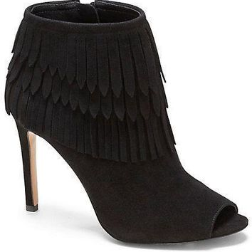 Vince Camuto VC Signature Women's Yulia Brown Suede Fringe Boot Bootie