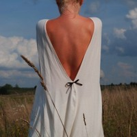 Creamy openback cotton Milk and honey Muse dress with by LeMuse