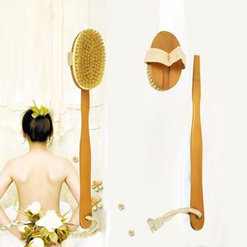 Bath Body Brush Boar Bristles Exfoliating Body Massager with Long Wooden Handle for Dry Brushing and Shower dropship 2jun27