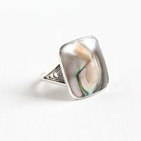 Vintage Sterling Silver Blister Pearl Ring - Art Deco 1930s Filigree Size 6 3/4 Colorful Protruding Blue Pink Cocktail Statement Jewelry
