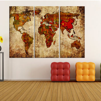 Large wall art for living room, rustic world map with flags canvas art, world map wall art canvas, Modern art, world map art print No:8S69