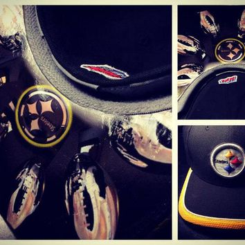 Pittsburgh Steelers Authentic New Era Snapback, Flex Fit, or Fitted Cap with Custom Bill on Top or Bottom