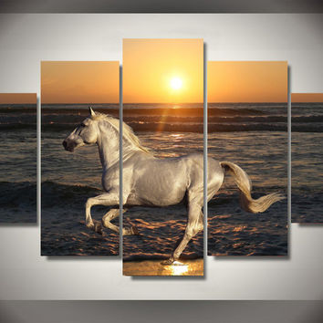 Sunset Shore White Horse 5-Piece Wall Art Canvas