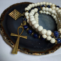 Egyptian Mala Beads | Unisex Lapis Lazuli & White Wood 108 Bead Ankh Necklace | Pharaoh Pyramid Horus JapaMala Meditation Yoga Prayer Rosary