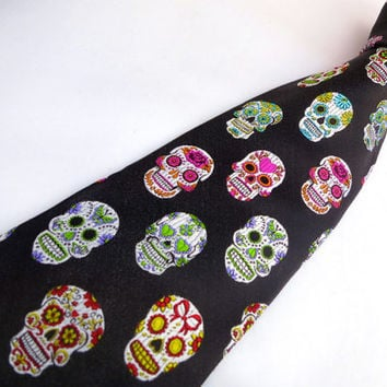 Sugar Skull Tie in Black - VaVa Exclusive - Silk Mens Sugar Skull Tattoo Necktie - Day of the Dead - Dia De Los Muertos - Halloween Wedding