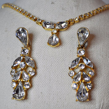 TRIFARI Vintage Gold and Rhinestone Drop Necklace and Matching Long Pierced Earrings Demi Parure, Sparkly! #A242