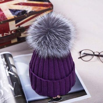Russian Knit Pompom Hat. Winter Beanies. 12CM Silver Fox Fur Ball. Fabulous Quality, Warm!