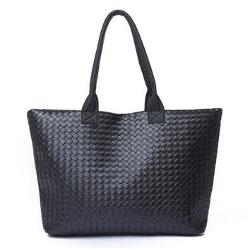 2015 korean high capacity shopping bag PU leather single shoulder bags fashion big women woven tote ladies sac a main