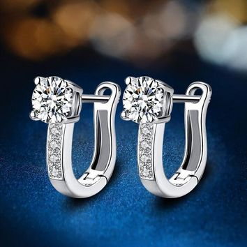 white gold plated huggie earrings with swarovski crystals gift box  number 1