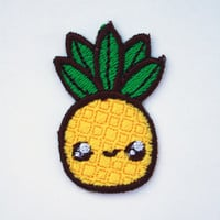 Small Kawaii Pineapple Machine Embroidered Patch Applique