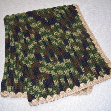 Crocheted Baby Blanket or Lap Blanket - Camouflage - Stroller, Car Seat, Camo, Brown, Green, Black