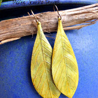 Yellow Large leaf brass Earrings, nature lover jewelry.