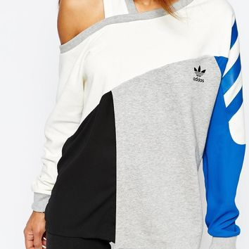 Fashion Online Adidas Originals Longline Sweatshirt With Color Block & Cut Out Detail