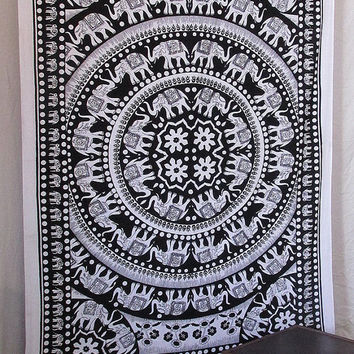 Twin White Mandala Tapestry Bedspread, Multi Elephant Bedspread Tapestry, Indian Hippie Boho Tapestry, Hippie Bohemian Throw Home Decor