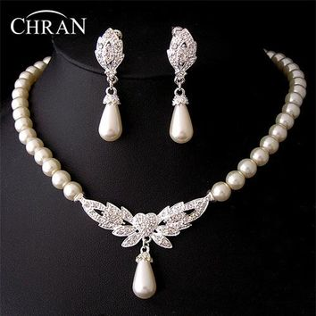 Chran New 19 Designs Heart Angel Wing Butterfly Wedding/Bridal Faux Pearl &Crystal Necklace Earrings Jewelry Set DFSPJS6057
