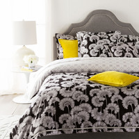 Japanese Floral Bedding in Ivory & Black design by Florence Broadhurst