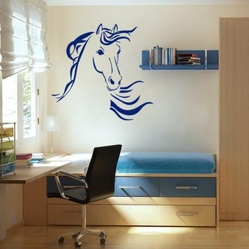 ik688 Wall Decal Sticker head horse nag pet stallion thoroughbred horse bedroom