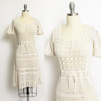 Vintage 1970s Dress - Ecru Crochet Knit Fitted Sheer Boho Day Dress 70s - Small