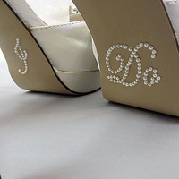 "Bride "" I Do "" Shoe Sticker for Bride in Pearl Rhinestone Great for Wedding Photos - Script"