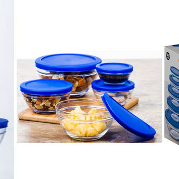 imperial home glass bowl set with lids - blue 10 piece set Case of 12