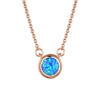 STYLEDOME UFOORO necklace  blue opal pendant Sweet round 8mm couple jewelry necklace for women love gift Christmas
