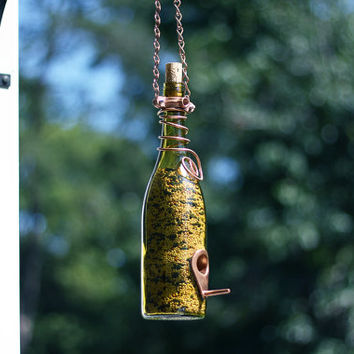 Free Shipping - Glass Wine Bottle Bird Feeder - Bird Houses - Gift for Mom - Outdoor - Patio - Handmade Wine Bottle Decor - Gifts for Women