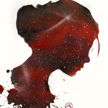 Custom - Side Profile - Girl - Silhouette - Spray Paint Art - Art Prints - Galaxy Painting - Personalized Silhouette