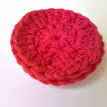 scrubbies - face scrubbies - cotton scrubbies - red scrubbies - crochet scrubbies - cotton washcloth - cotton makeup remover - red washcloth