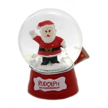 Christmas RUDOLPH SNOWGLOBE Glass Red Nose Reindeer 39225 Santa