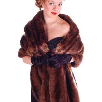 Vintage Fur Stole  Natural Ranch Mink Movie Star Quality 1950S Dark Brown 14 Skin