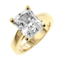 Cubic Zirconia Radiant Solitaire Ring Size 9