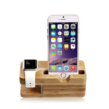 Stand for Apple Watch and iPhone Bamboo Wood Charging Stand Bracket Station
