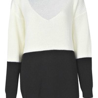 Beth V Neck Colour Block Jumper