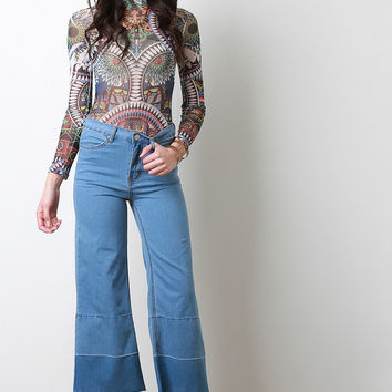 Raw Hems Culotte Jeans
