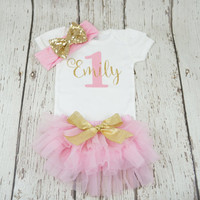 pink and gold outfit, first birthday outfit, girl 1st birthday outfit, girl birthday outfit, glitter gold outfit, sparkle gold, posh peanut