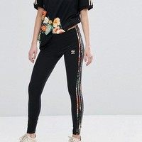 adidas Originals Floral Print T-shirt Three Stripe Legging Set Two-Piece
