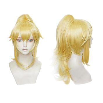 XCOSER Super Mario Bowsette Wig Golden Cosplay Accessory