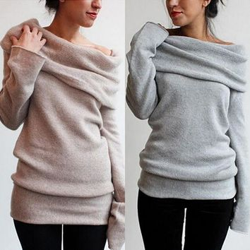 Knitted pullover Oversize Sweater Long sleeve Wool